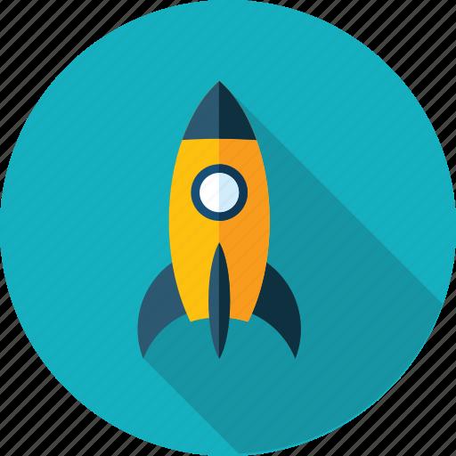 development, discover, explore, flat design, launch, mission, rocket icon