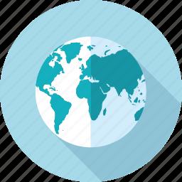 destination, flat design, globe, location, long shadow, network, travel icon