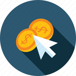 click, earning, flat design, internet, online, pay, per icon