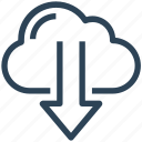 arrow, cloud, down, download, seo