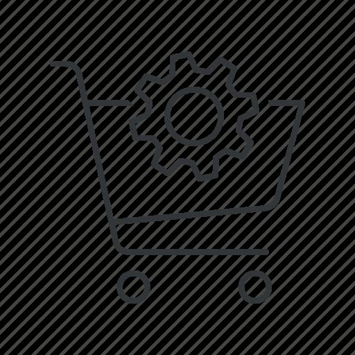 cart, ecommerce, gear, optimization, optimize, seo, shopping cart icon