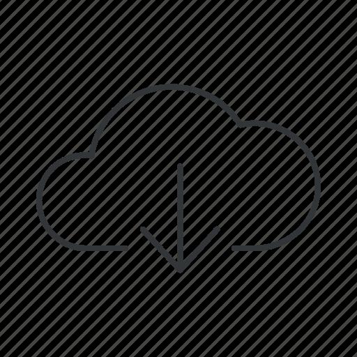 arrow, cloud, data, down, download, info, storage icon