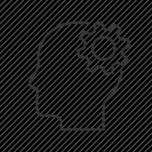 brain, brainstoarm, gear, head, mind, think, thinking icon