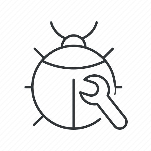 bug, bug fixing, error, fix, insect, virus, wrench icon