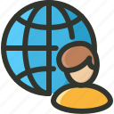 audience, globe, user icon