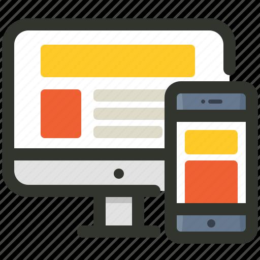 adaptive, design, responsive, web icon