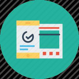 analysis, chart, data, graph, mobile, statics, window icon