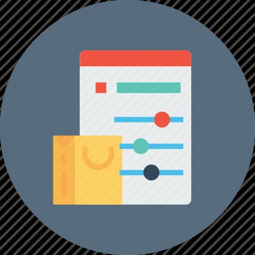 bag, cart, online, optimization, performance, shopping, statics icon
