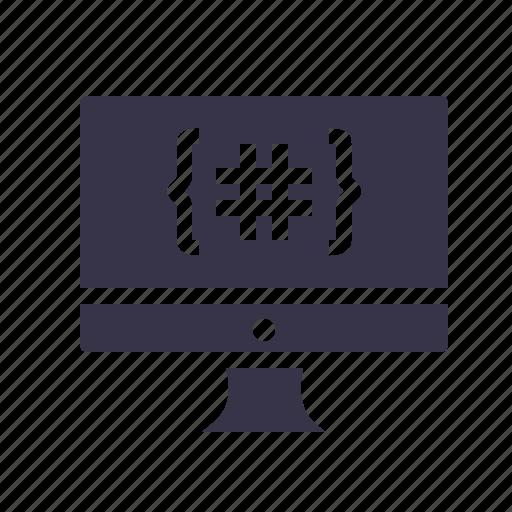 code, coding, development, device, display, language, monitor icon