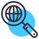 glass, globe, magnifying, network, search, world icon