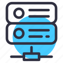 database, network, rack, security, server, storage