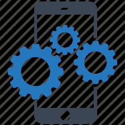 mobile, mobile marketing, seo icons, seo pack, seo services, settings, web design icon