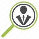 businessman, find, hr, magnifying glass, optimization, search, seo icon