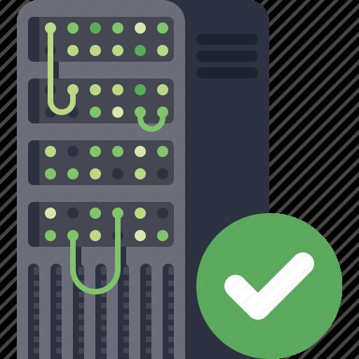 accept, check, data, database, ok, server, storage icon