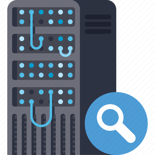 data, database, magnifier, search, server, storage, view icon