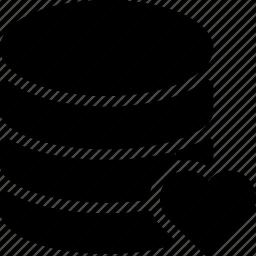 data, database, heart, server, storage icon