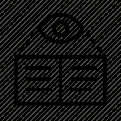 book, doc, eye, read, readability, vision icon