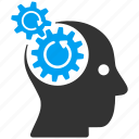 brain gears, intellect, memory tools, psychology, rotation, science, settings icon