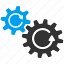 cogs rotation, control settings, engine, gear box, refresh, system configuration, tools icon