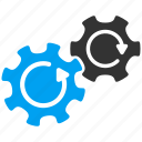 cog rotation, cogwheel, gear mechanism, gears, rotate direction, settings, system tools icon