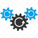 gear mechanism, gears, rotate direction, settings, system tools, transmission, wheels icon