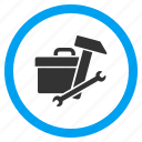equipment, hardware, maintenance, service, tool box, toolbox, tools icon