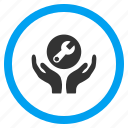 care hands, gear, maintenance, project, service, settings, support icon