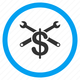 business, dollar, job, money, service price, settings, work icon