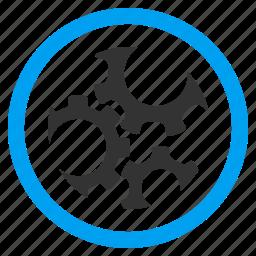 engine, engineering, gears, machine, mechanic elements, mechanics, motor icon