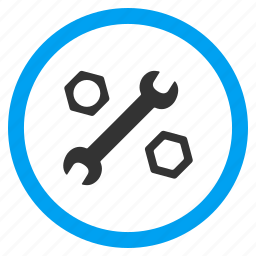 configuration, engineering, nuts, repair service, settings, system options, wrench icon