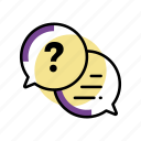 ask, bubbles, call, q&a, question mark icon