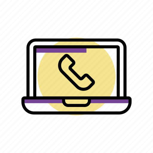 call, handset, laptop, online, service, support icon