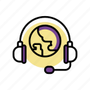 earth, headset, service, support, world icon