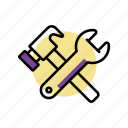 hammer, maintenance, screw driver, settings, tools icon