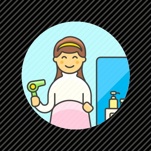 barber, dresser, hair, hairstyle, salon, service, woman icon