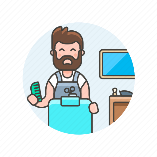 barber, brush, dresser, hair, hairstyle, man, salon, service icon