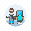 barber, dresser, hair, hairstyle, man, salon, service icon