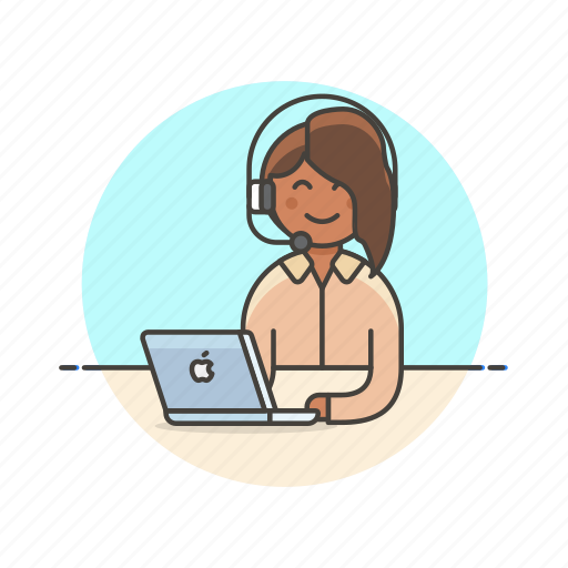 Call Center Apple Customer Macbook Service Woman Icon Download On Iconfinder