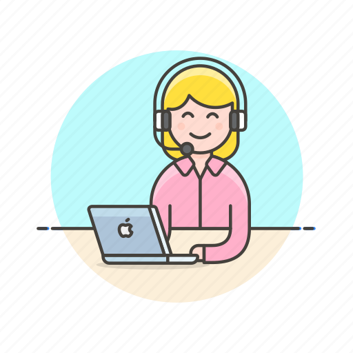 apple, call, center, customer, laptop, service, support, woman icon