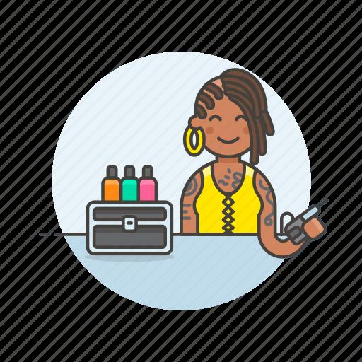 artist, design, ink, paint, service, tattoo, woman icon