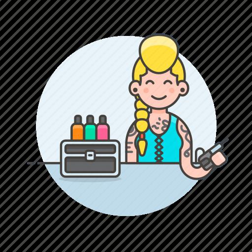 artist, design, ink, paint, service, tattoo, transport, woman icon