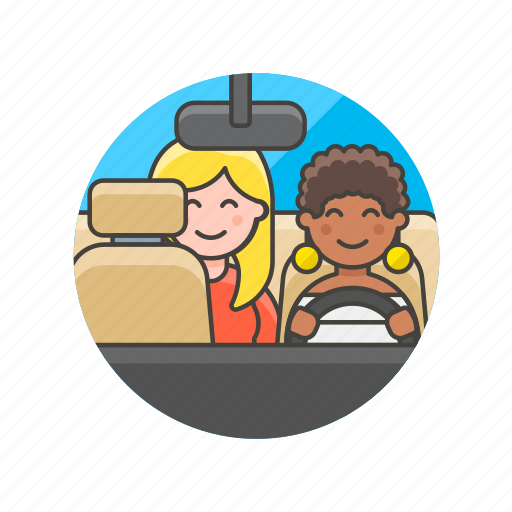 application, customer, driver, taxi, transport, uber, woman icon