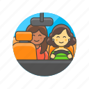application, customer, driver, service, taxi, transport, uber, woman icon