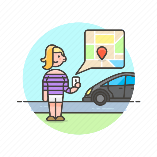 application, driver, gps, service, taxi, transport, uber, woman icon