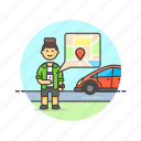 taxi, uber, driver, application, map, man, transport, gps
