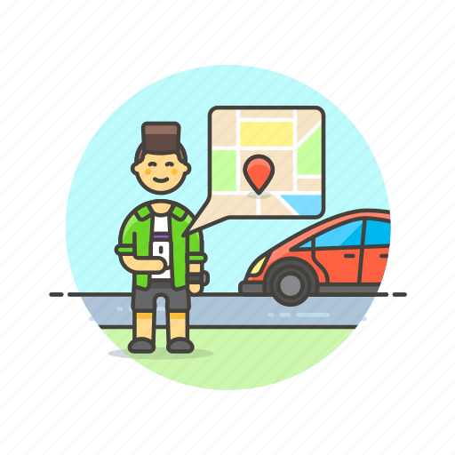 application, driver, gps, man, map, taxi, transport, uber icon