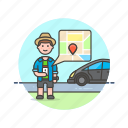 application, car, driver, gps, man, taxi, uber icon