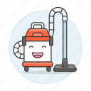 clean, cleaner, cleaning, face, happy, house, services, the, tidy, up, vacuum icon