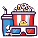 cinema, food, drink, entertainment, soda, popcorn, glasses