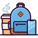backpack, bag, business, coffee, cup, mobile, phone icon